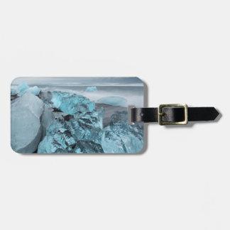 Étiquette À Bagage Glace bleue sur le paysage marin de plage, Islande