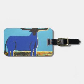 Étiquette À Bagage Grand Taureau bleu