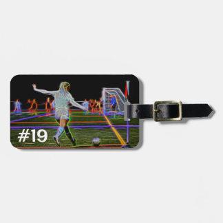 Étiquette À Bagage Graphique du football du numéro 19, étiquette de