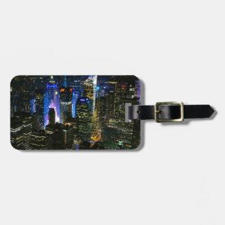 Étiquette À Bagage Gratte-ciel de Manhattan Etats-Unis de nuit de New
