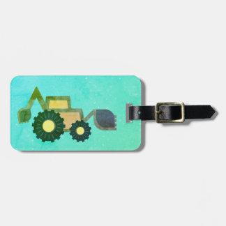 Étiquette À Bagage Green backhoe, cute, minimalist, flat design