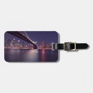 Étiquette À Bagage Horizon de nuit de pont de New York City Brooklyn