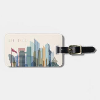 Étiquette À Bagage Horizon de ville d'Abu Dhabi, Emirats Arabes Unis