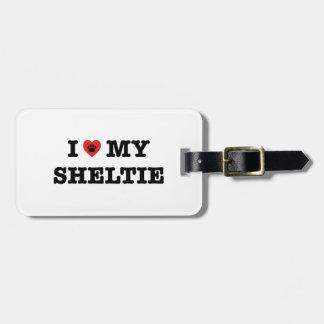 Étiquette À Bagage I coeur mon étiquette de bagage de Sheltie