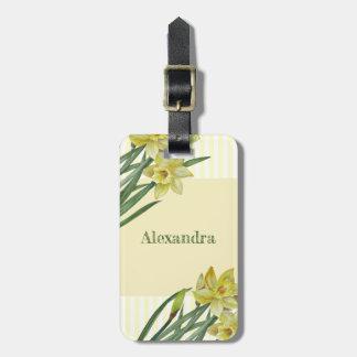 Étiquette À Bagage Illustration de portrait de fleur de jonquilles