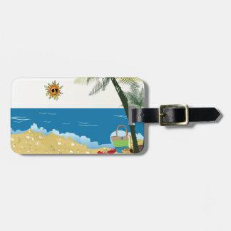 Étiquette À Bagage Image de scène de plage sur sunnyday