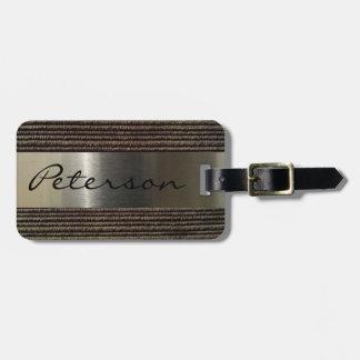 Étiquette À Bagage Image grise du velours côtelé et de l'acier des