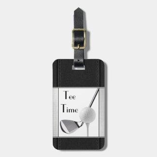 Étiquette À Bagage Image jouante au golf de cuir de noir de temps de