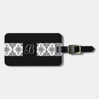Étiquette À Bagage Impression florale noire de blanc du voyage  
