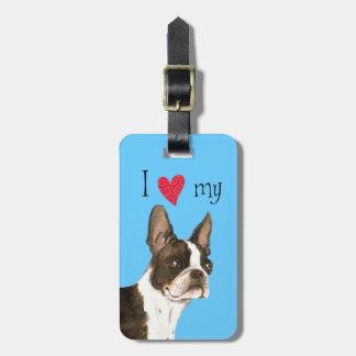 Étiquette À Bagage J'aime mon Boston Terrier