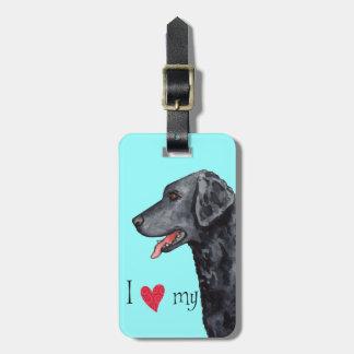 Étiquette À Bagage J'aime mon chien d'arrêt Bouclé-Enduit