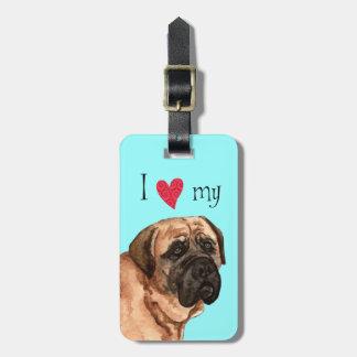Étiquette À Bagage J'aime mon mastiff