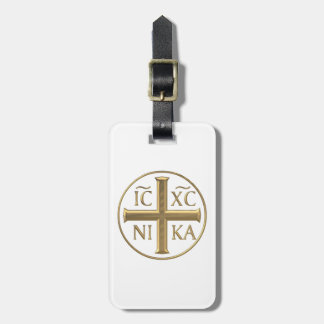 """Étiquette À Bagage Jésus-Christ """"à trois dimensions"""" d'or : Conquiert"""
