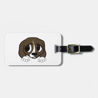 Étiquette À Bagage jeter un coup d'oeil blanc de brun foncé de beagle