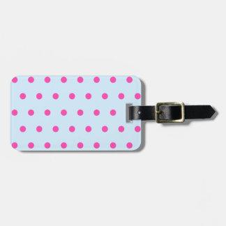 Étiquette À Bagage Joli et élégant point de polka bleu et rose fait