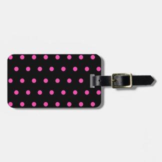 Étiquette À Bagage Joli et élégant point de polka noir et rose fait