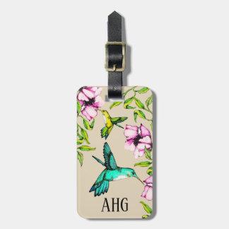 Étiquette À Bagage Jolis colibris d'aquarelle et fleurs pourpres