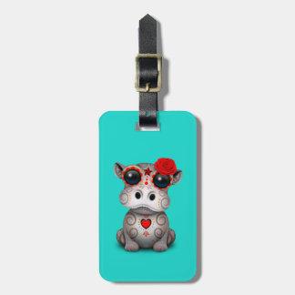 Étiquette À Bagage Jour rouge de l'hippopotame mort de bébé