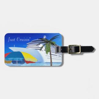 Étiquette À Bagage Juste Cruisin par la plage
