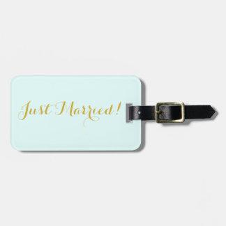 Étiquette À Bagage Juste marié dans l'étiquette de bagage de voyage