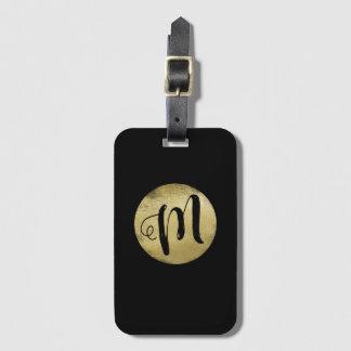 Étiquette À Bagage juste un monogramme simple d'or de faux sur le
