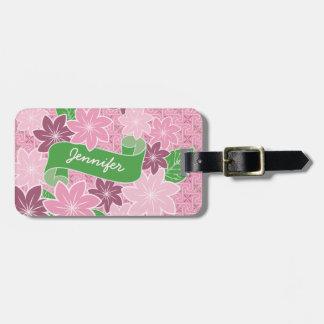 Étiquette À Bagage Kimono rose du Japon de bannière de vert de