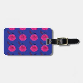 Étiquette À Bagage La conception fleurit le rose bleu