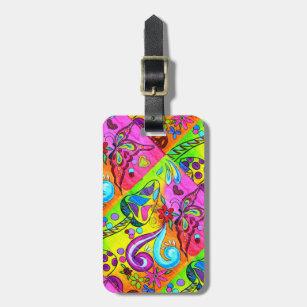 Étiquette À Bagage la hippie psychédélique super colore l'étiquette
