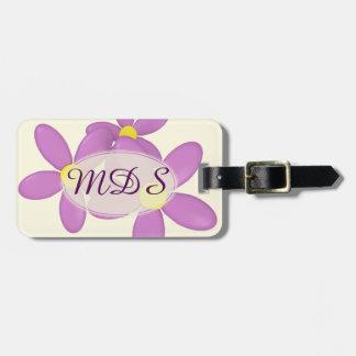 Étiquette À Bagage La marguerite rose fleurit l'étiquette de bagage