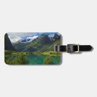 Étiquette À Bagage Lac Floen pittoresque, Norvège