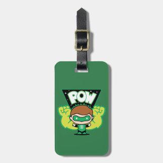 Étiquette À Bagage Lanterne verte de Chibi formant les poings géants