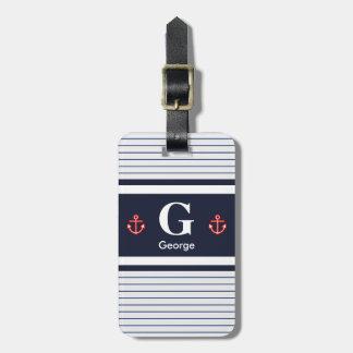 Étiquette À Bagage Le blanc nautique de marine barre le monogramme