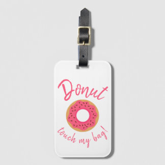 Étiquette À Bagage Le contact de beignet mon rose et chocolat de sac