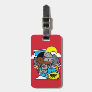 Étiquette À Bagage Le cyborg de Chibi soufflent !