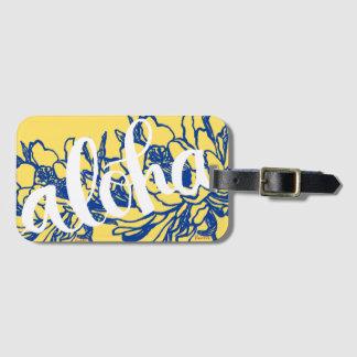 Étiquette À Bagage Le grand Aloha cierge jaune bleu fleurit des