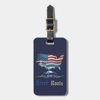 Étiquette À Bagage Le Grec américain enracine le modèle d'étiquette