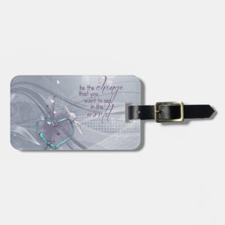 Étiquette À Bagage Le ruban de coeur d'Aqua, diplôme, bijoux, soit le