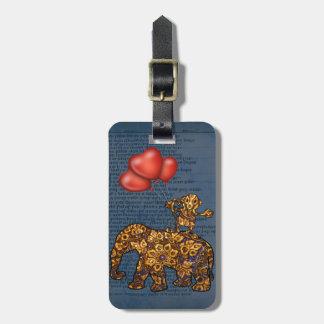 Étiquette À Bagage Le singe sur des éléphants soutiennent des ballons