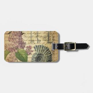 Étiquette À Bagage le steampunk verrouille le lilas pourpre botanique