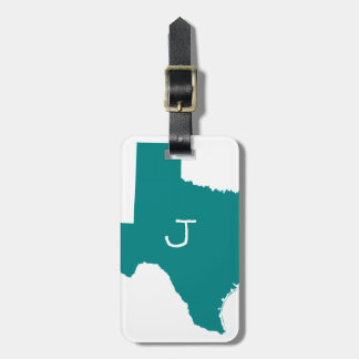 Étiquette À Bagage Le Texas turquoise décoré d'un monogramme