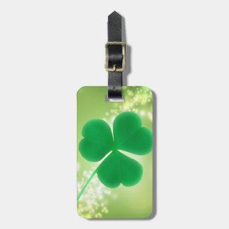 Étiquette À Bagage Le trèfle irlandais vert Bokeh élégant miroite