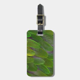 Étiquette À Bagage Les plumes vertes de perroquet se ferment