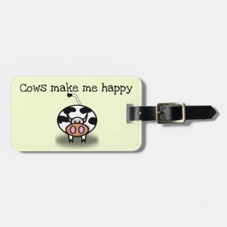 Étiquette À Bagage Les vaches me rendent heureux