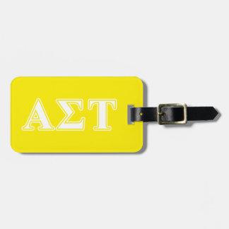 Étiquette À Bagage Lettres blanches et jaunes d'alpha Tau de sigma