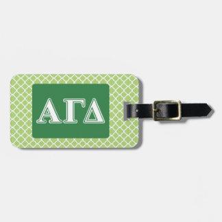 Étiquette À Bagage Lettres blanches et vertes d'alpha delta gamma