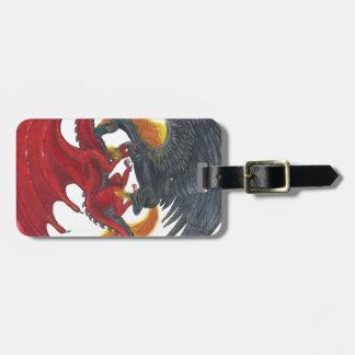 Étiquette À Bagage Licorne noire du feu et dragon rouge