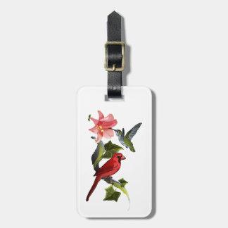 Étiquette À Bagage Lis rose de cardinal et de colibri personnalisé