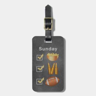 Étiquette À Bagage Liste de contrôle drôle du football de dimanche