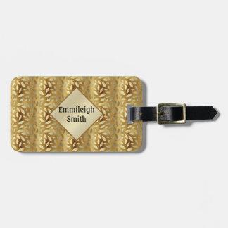 Étiquette À Bagage L'or brillant personnalisé part du monogramme