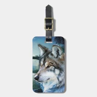 Étiquette À Bagage loup de pleine lune de clair de lune de forêt de